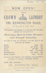Advert for the Crown Laundry